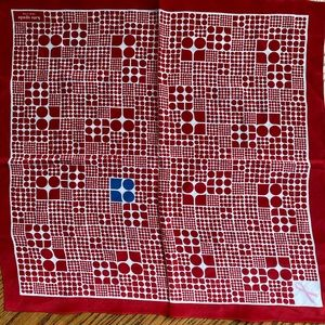 Kate Spade Red and White Print Silk Scarf